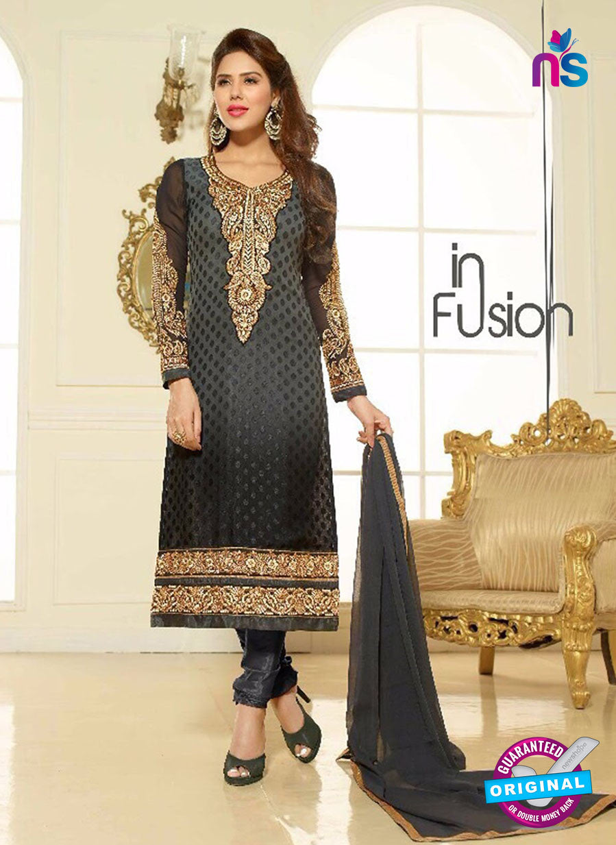 Lavina 13008 Black and Grey Party Wear Embroidered Brasso Straight Suit
