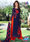 SC 12746 Blue and Orange Embroidered Georgette Party Wear Plazzo Suit