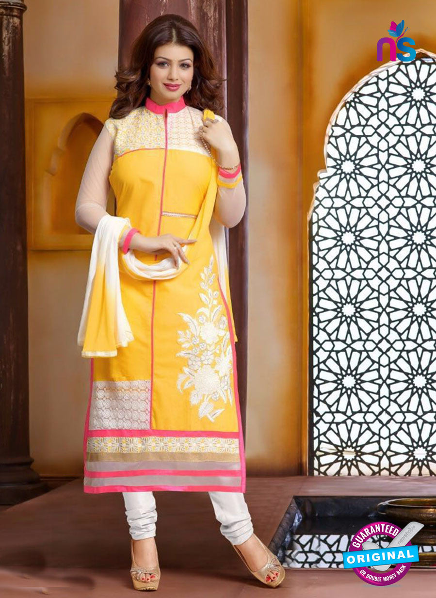 Ennayaa 13008 - Yellow & White Color Cambric Cotton Designer Suit