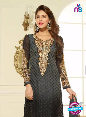 NS10978 Black and Grey Party Wear Embroidered Brasso Straight Suit