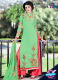 SC 12743 Green and Red Embroidered Georgette Party Wear Plazzo Suit