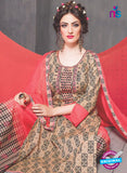 SC 13765 Brown and Peach Cambric Cotton Designer Exclusive Un-stitched Straight Plazo Suit Online