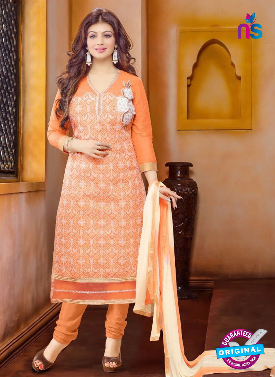 Ennayaa 13012 - Orange Color Cambric Cotton Designer Suit