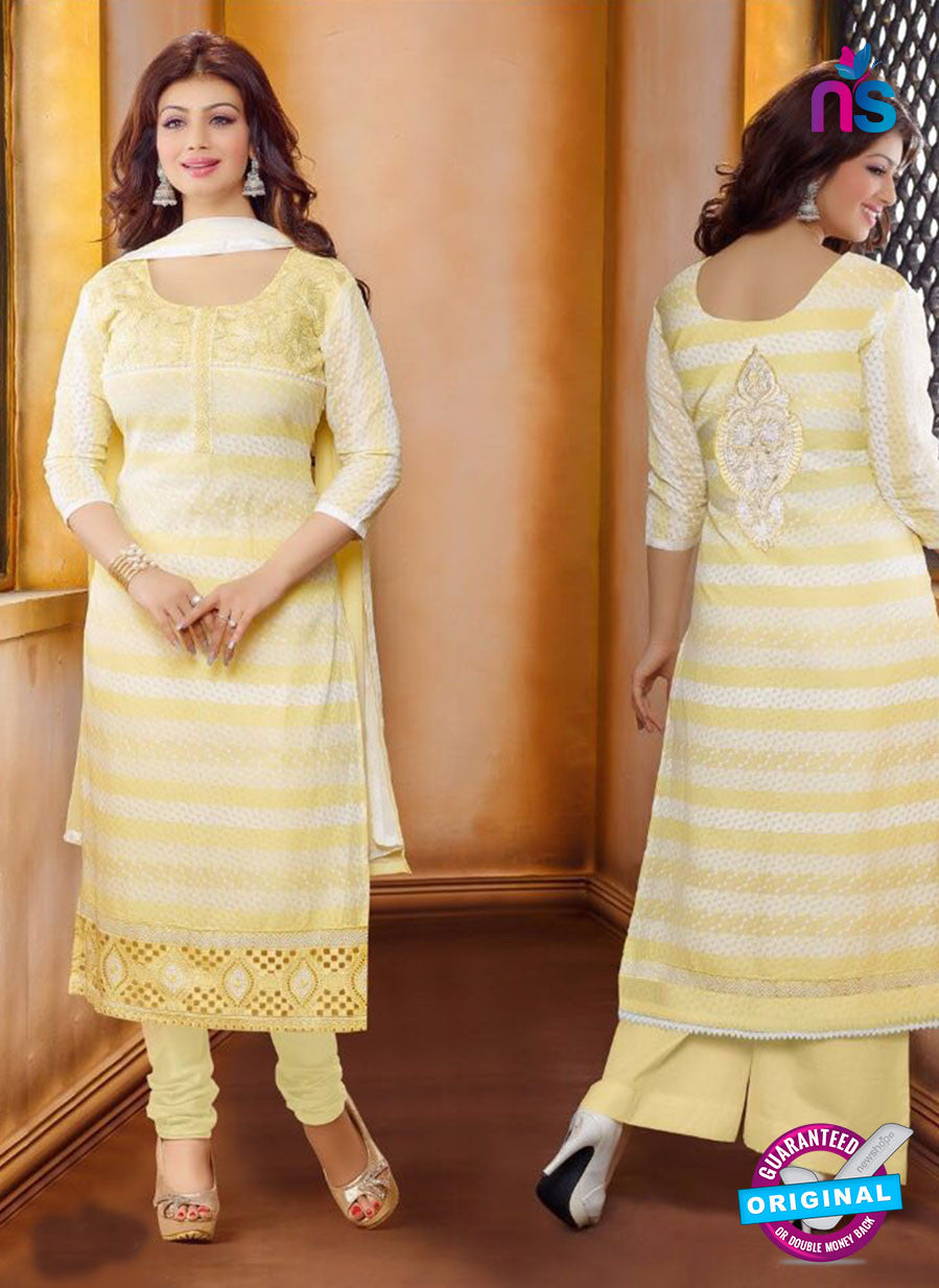 Ennayaa 13013 - Yellow & White Color Cambric Cotton Designer Suit
