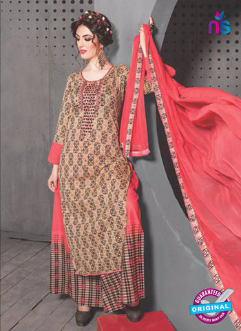SC 13765 Brown and Peach Cambric Cotton Designer Exclusive Un-stitched Straight Plazo Suit