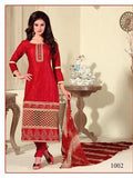 NS11436 Red and Beige Cotton Jaqcuard Party Wear Straight Suit