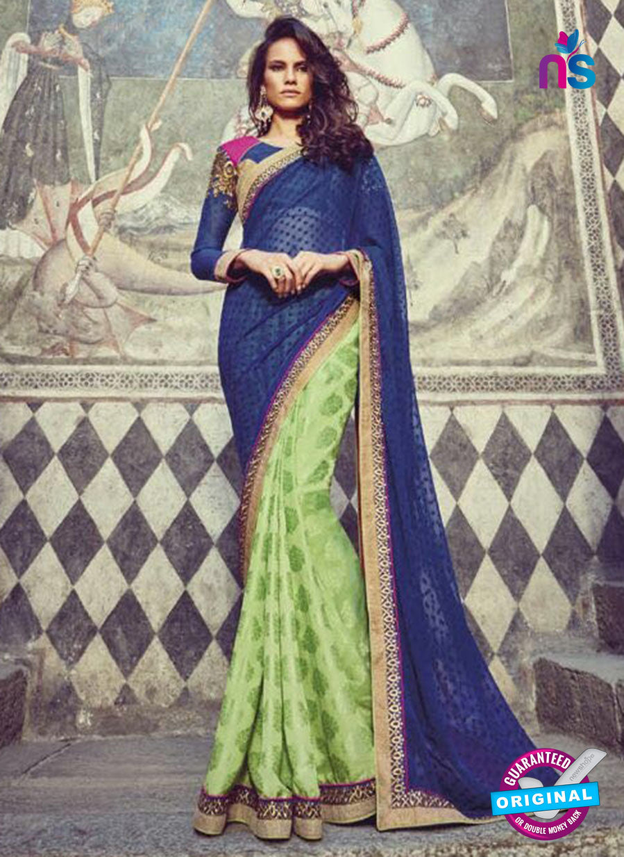 Buy Purple Romano 1302 Green Jacquard and Georgette Party Wear Saree Online
