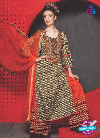 SC 13757 Multicolor Cambric Cotton Designer Exclusive Un-stitched Straight Plazo Suit