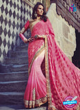 Buy Purple Romano 1303 Pink Jacquard and Georgette Party Wear Saree Online