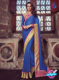 Buy Purple Romani 1304 Blue Jacquard and Georgette Party Wear Saree Online