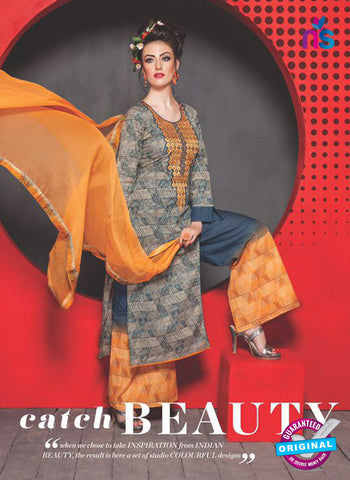 SC 13759 Grey and Orange Cambric Cotton Designer Exclusive  Fancy Un-stitched Straight Plazo Suit