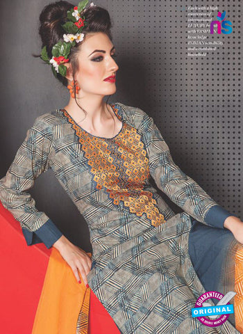 SC 13759 Grey and Orange Cambric Cotton Designer Exclusive  Fancy Un-stitched Straight Plazo Suit Online