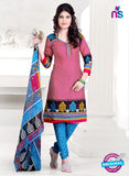 SC 13144 Pink and Sky Blue Cotton Salwar Suit