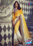 Buy Purple Romano 1306 Yellow Jacquard and Georgette Party Wear Saree Online