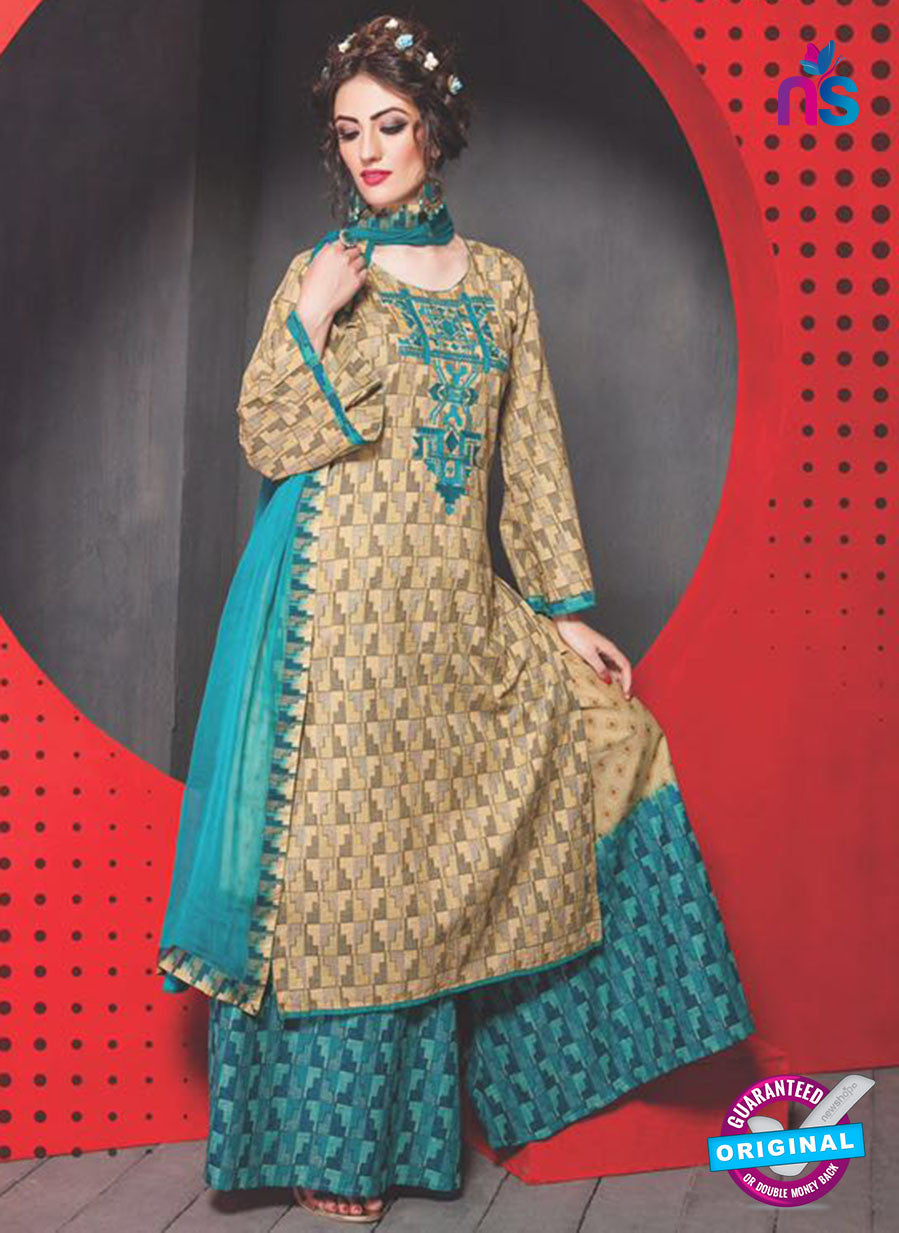 SC 13763 Beige and Sky Blue Cambric Cotton Designer Exclusive Un-stitched Straight Plazo Suit