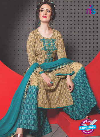 SC 13763 Beige and Sky Blue Cambric Cotton Designer Exclusive Un-stitched Straight Plazo Suit Online