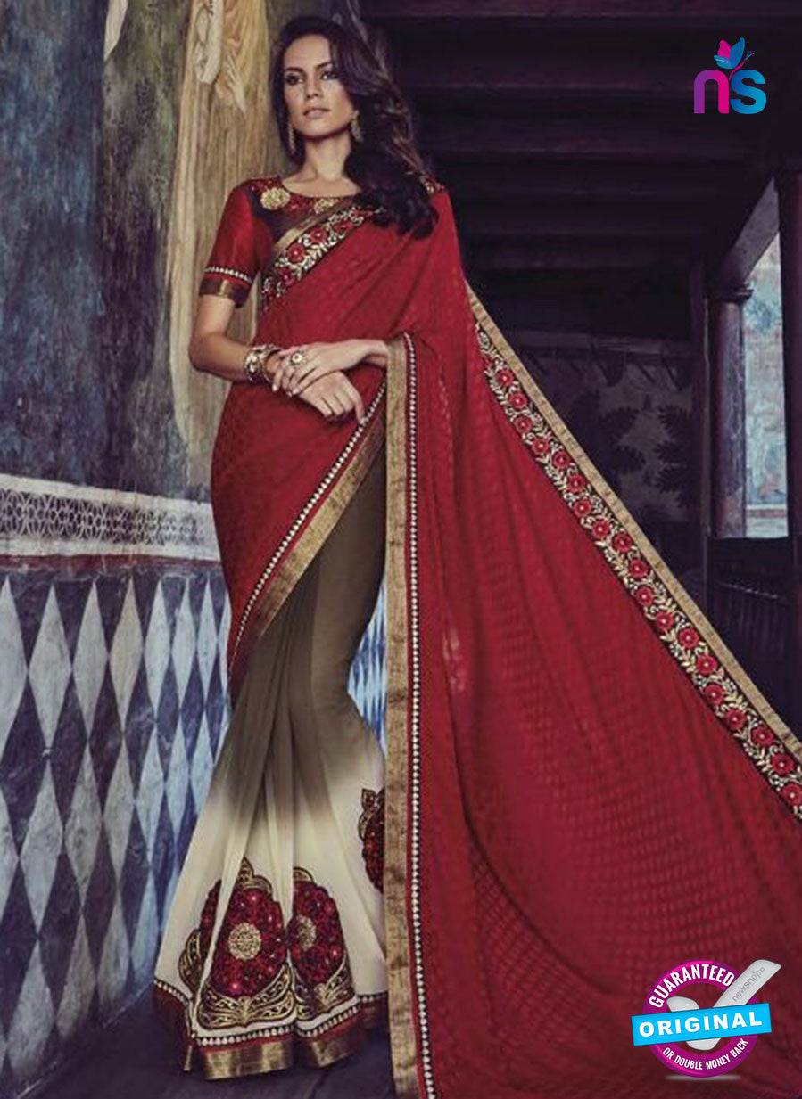 Buy Purple Romano 1307 Brown Jacquard and Georgette Party Wear Saree Online