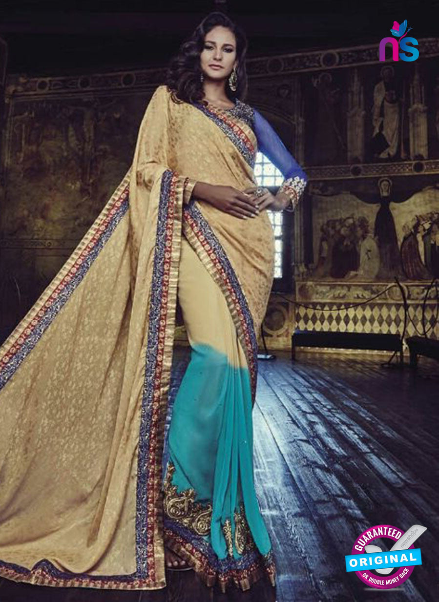AZ 3798 Sky Blue and Beige Jacquard and Georgette Party Wear Saree
