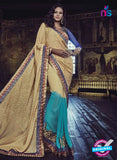 Buy Purple Romano 1308 Sky Blue and Beige Jacquard and Georgette Party Wear Saree Online