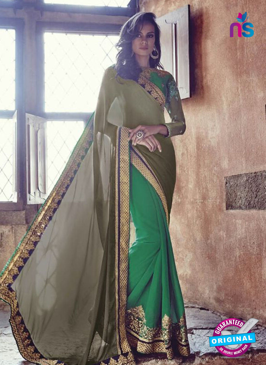 AZ 3799 Green Jacquard and Georgette Party Wear Saree