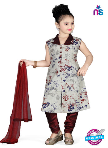 Grey colour Readymade little girl anarkali suits