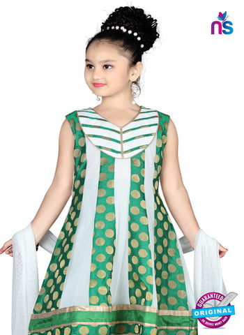 RT 13144 Green and Off White Readymade Anarkali Suit