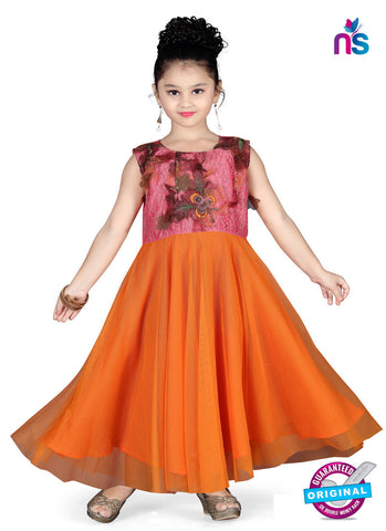 RT 13152 Orange, Pink Readymade Gown