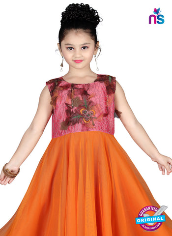 RT 13152 Orange and Pink Readymade Gown