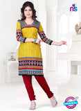 SC 13143 Yellow and Red Cotton Salwar Suit