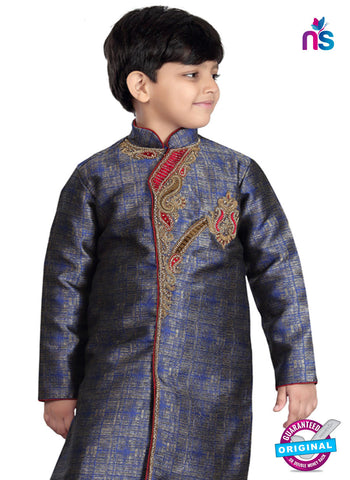 RT 13193 Blue Banarasi Silk Sherwani
