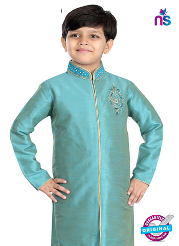 RT 13198 Sea Green Art Dupion Sherwani