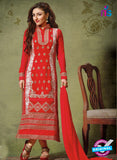 NS10451 Red Georgette Straight Suit