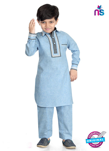 RT 13203 Blue Cotton Silk Kurta Pyjama