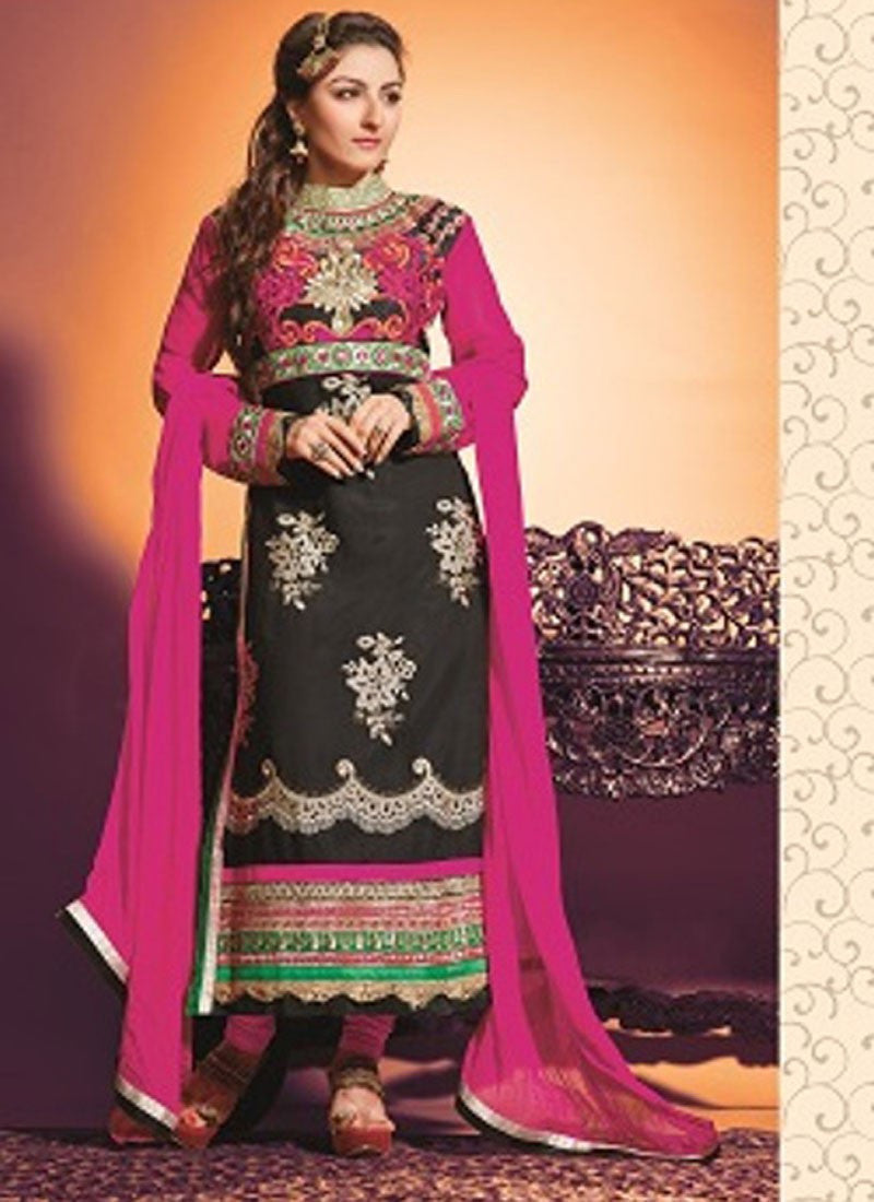 NS10452 Black and Pink Georgette Straight Suit
