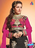 NS10452 Black and Pink Georgette Straight Suit Online Shopping