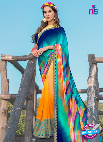 RT 13209 Blue And  Yellow Georgette Formal Saree