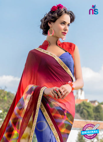 RT 13212 Red And Blue Georgette Formal Saree