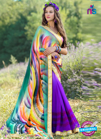 RT 13215 Purple And Sea Green Georgette Fancy Formal Saree
