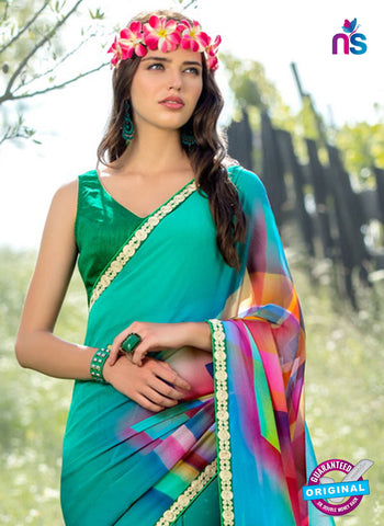 RT 13219 Green Georgette Fancy Formal Saree