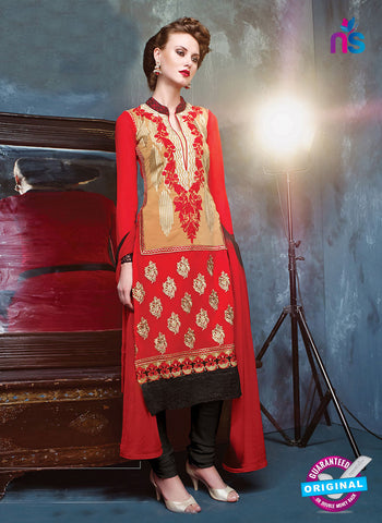RT 13180  Red And Black Georgette Party Wear Straight Suit
