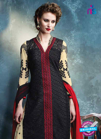 RT 13182 Beige and black Georgette Party Wear Straight Suit