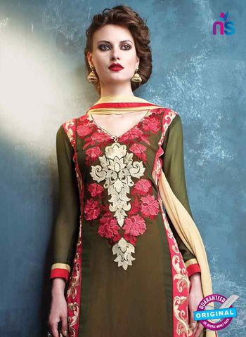 RT 13183 Green Georgette Party Wear Straight Suit