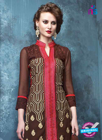 RT 13185 Brown Georgette Party Wear Straight Suit
