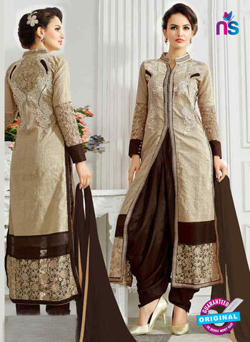 RT 13245  Beige  Chanderi Silk Semi Stitched Designer Plazo Suit