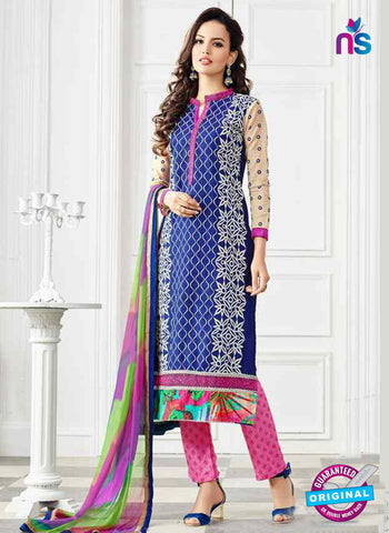 RT 13247  Navy Blue  Chanderi Silk Semi Stitched Designer Plazo Suit