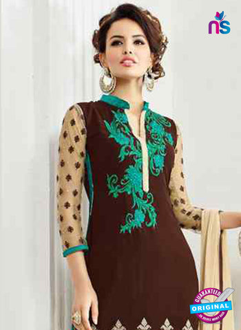 RT 13248  Brown  Georgette Semi Stitched Designer Plazo Suit