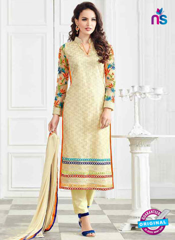 RT 13250  Beige Net Unstitched Designer Plazo Suit