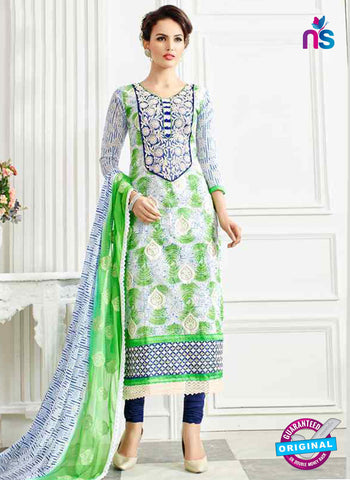 RT 13251  White  And  Green  Chanderi Silk  Unstitched Designer Plazo Suit
