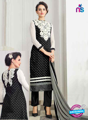 RT 13254  Black  Chanderi Silk  Unstitched Designer Plazo Suit