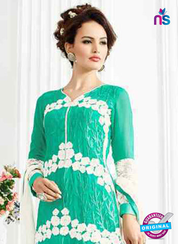 RT 13255 Sea Green Georgette Unstitched Designer Plazo Suit